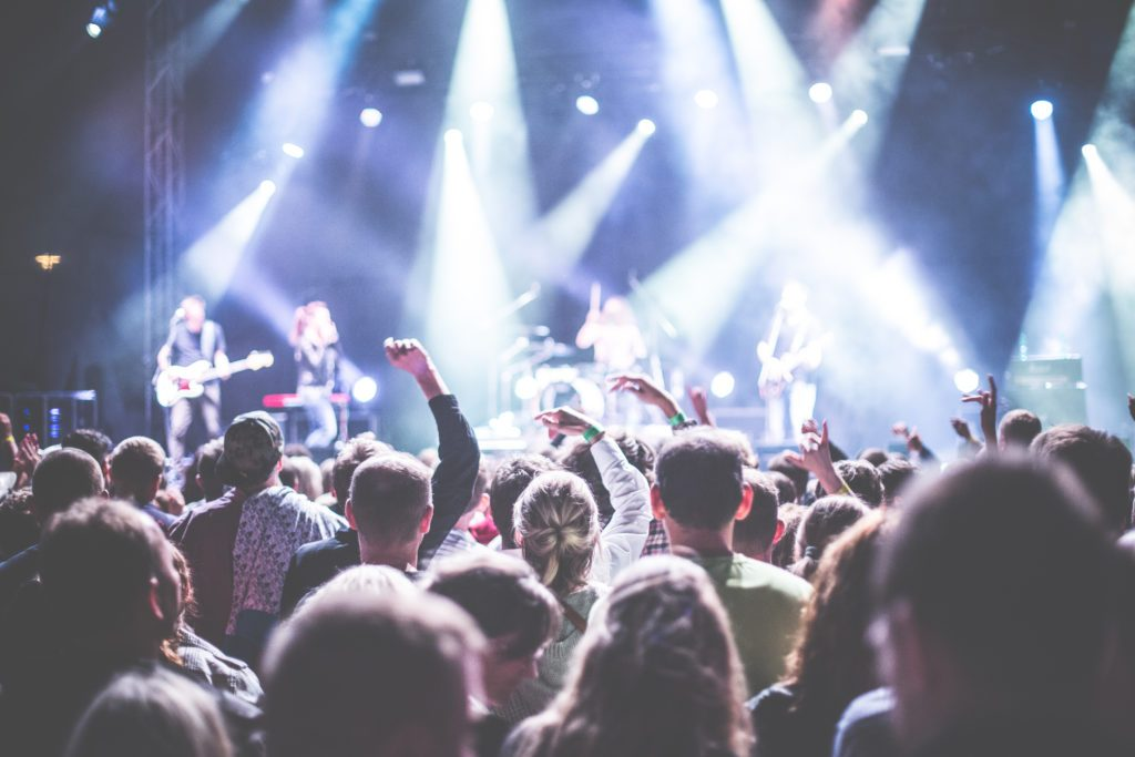 Photo of back of crowd at a music concert