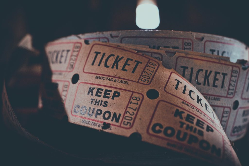Photo of roll of ticket stubs